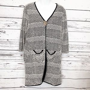 CAMILLE & COMPANY black white cardigan / cover up